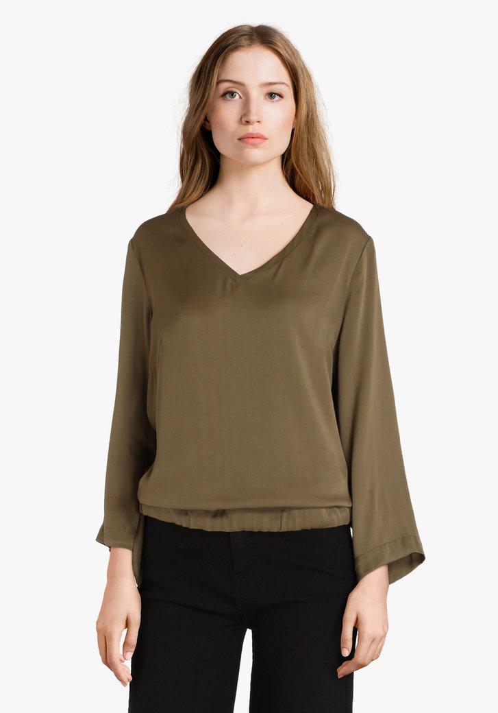 Satijnen kaki blouse met striklint