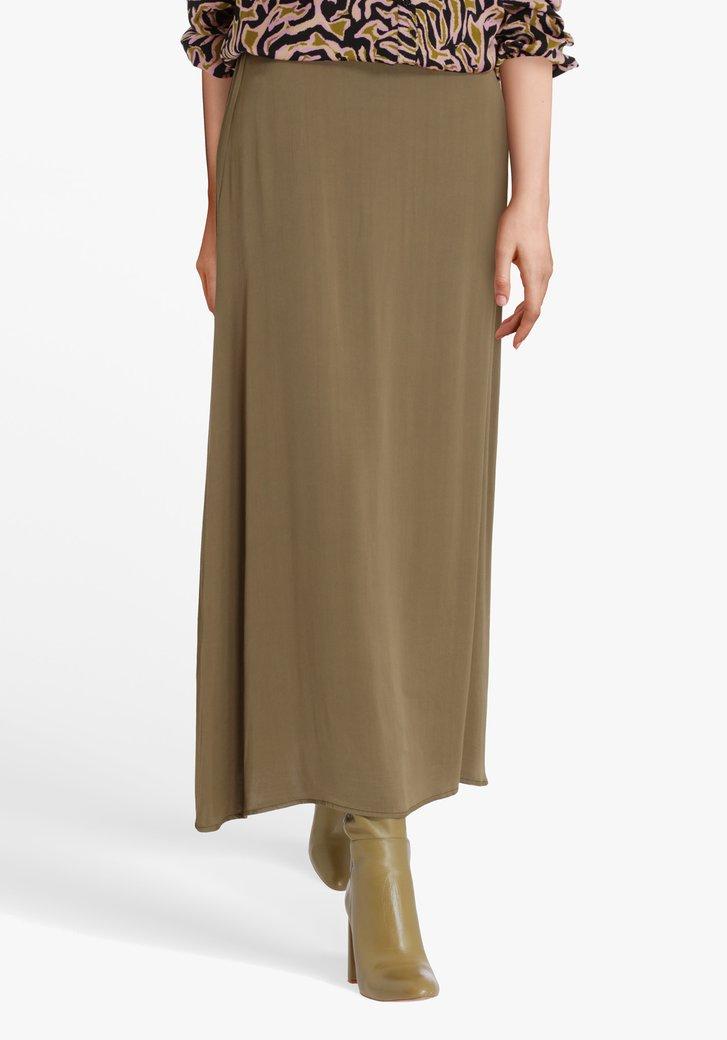 Satijnen kaki rok met elastische tailleband