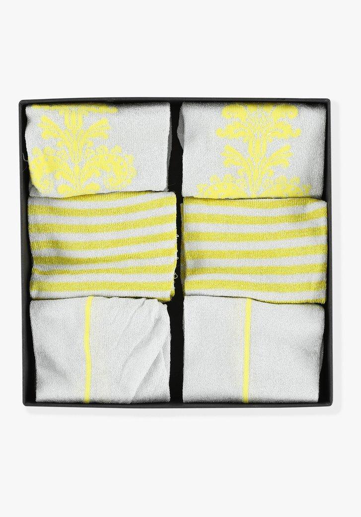 Set van 3 paar kousen - Geel x Zilver