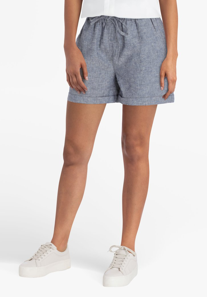 Short gris en coton et lin