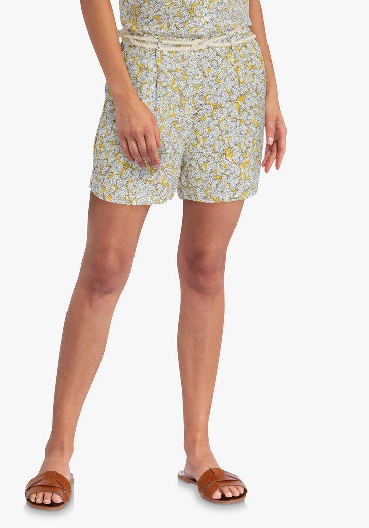 Short jaune à imprimé citron
