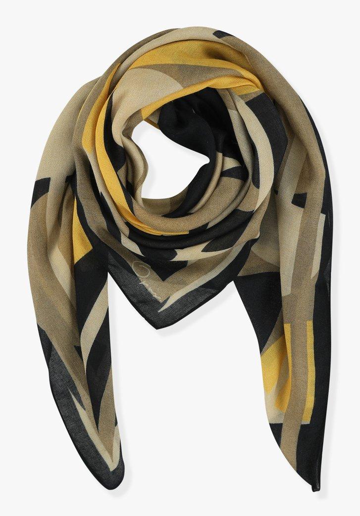 Sjaal met bruin-blauwe print