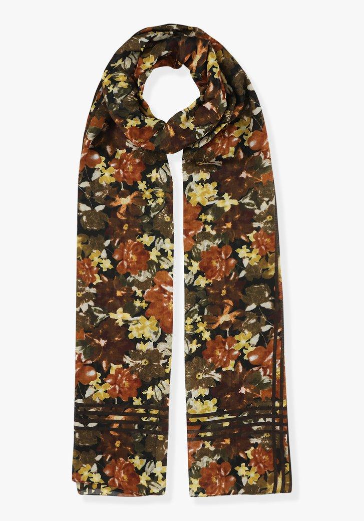 Sjaal met bruine bloemenprint