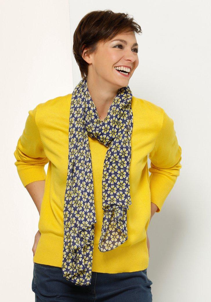 Sjaal met geel-blauwe bloemenprint