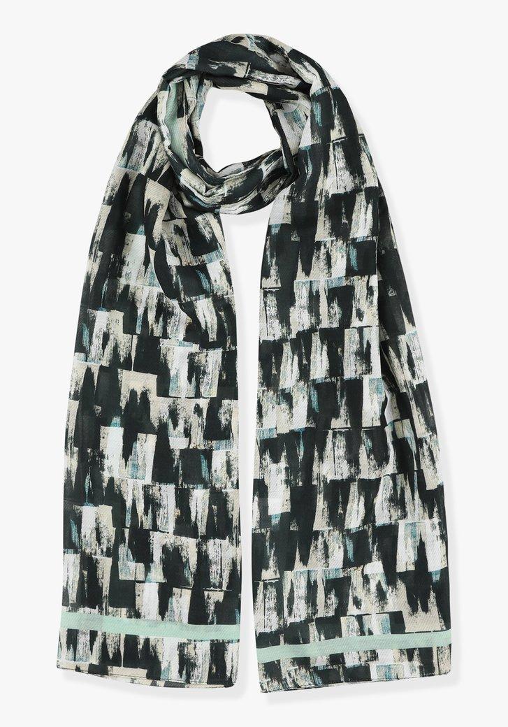 Sjaal met grijs-groene print