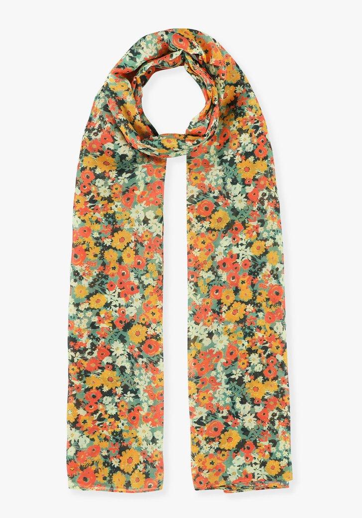 Sjaal met oranje-gele bloemen