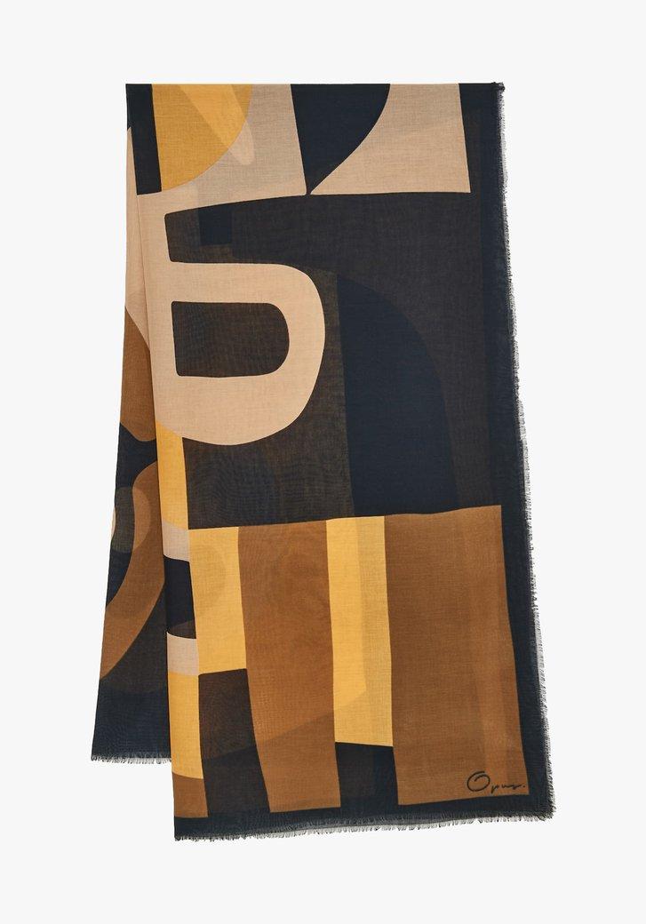 Sjaal met print in blauw, beige en oker
