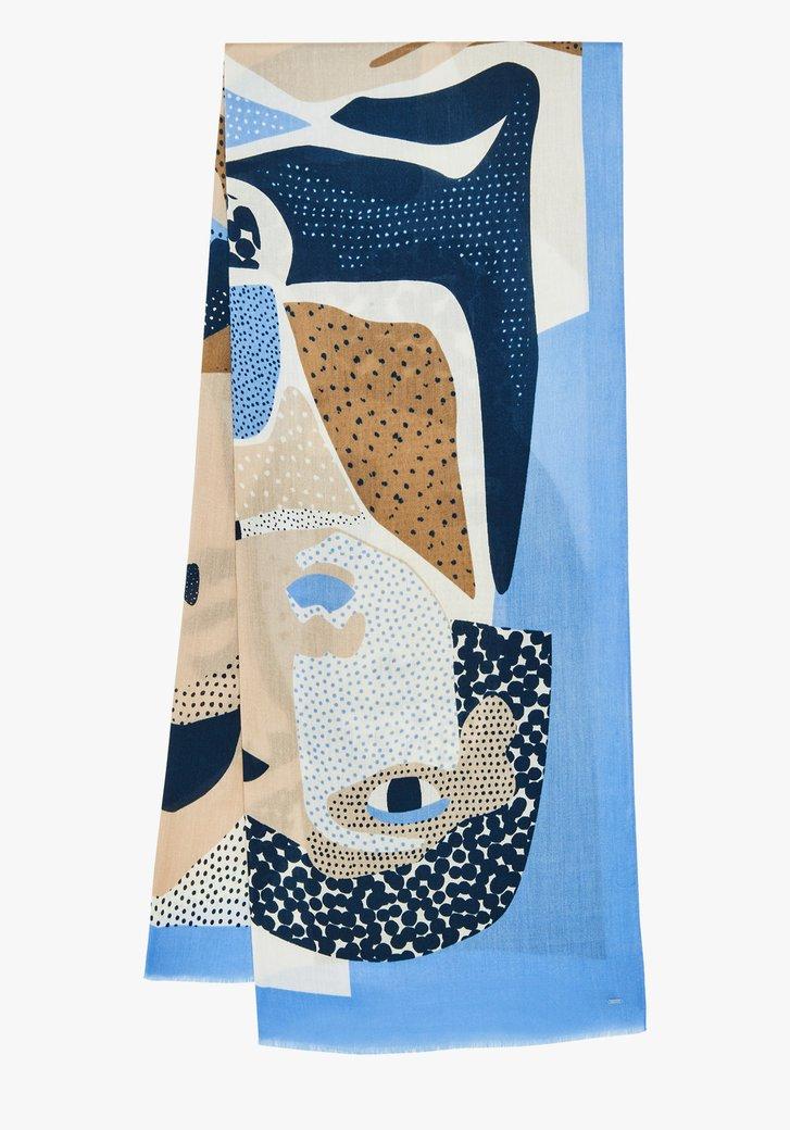 Sjaal met print in blauw en beige tinten