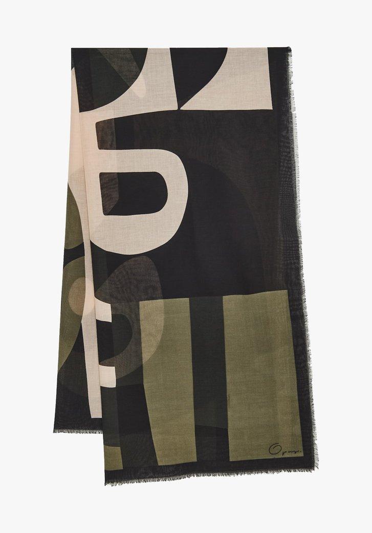 Sjaal met print in kaki, zwart en beige