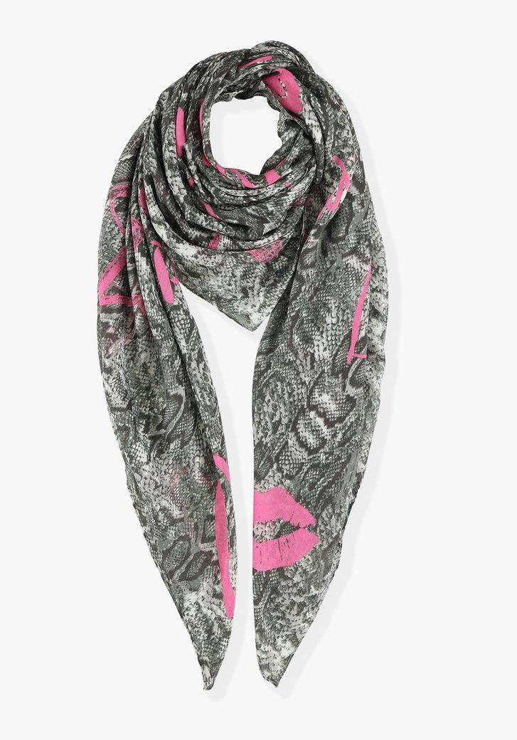 Afbeelding van Sjaal met zwarte slangenprint en roze accenten