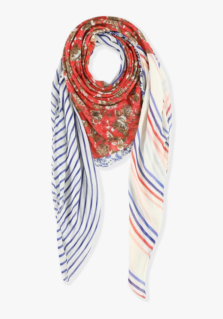 Sjaal: streepjes x bloemen