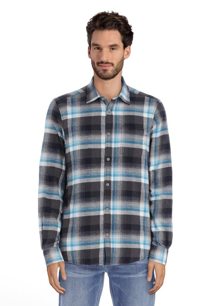 Staalblauw-grijs geruit hemd in flanelkatoen