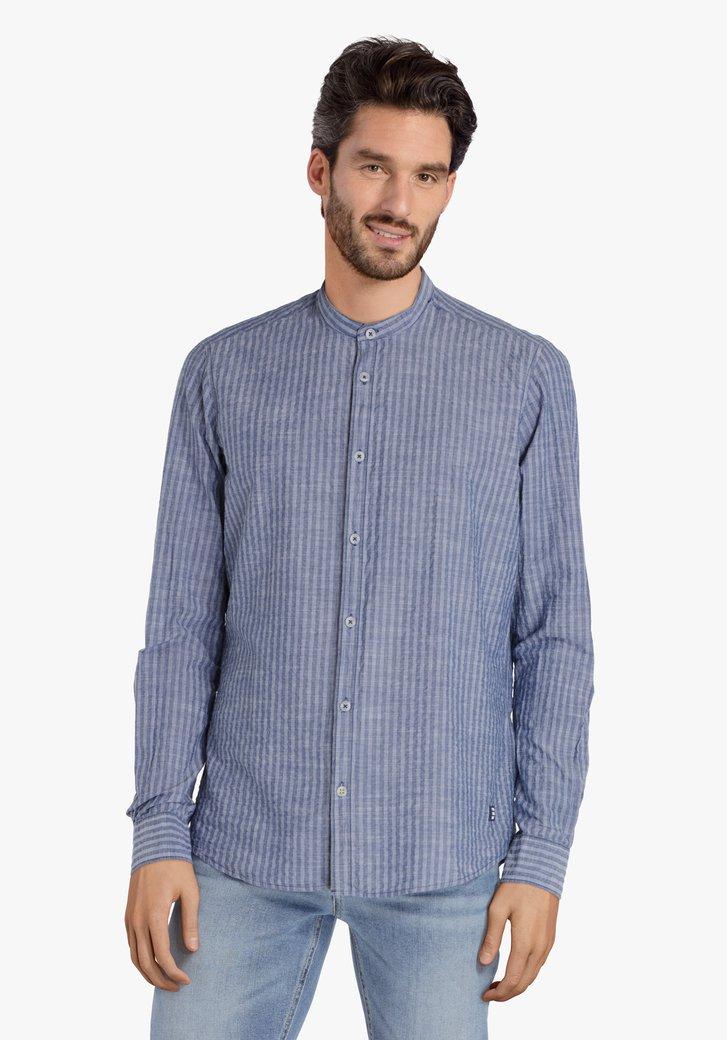 Staalblauw hemd met maokraag – regular fit