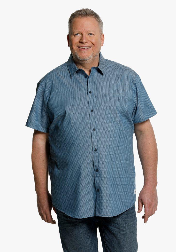 Staalblauw hemd met print en korte mouwen