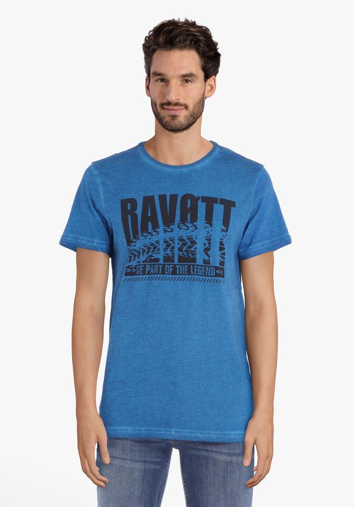 Staalblauw katoenen T-shirt met ronde hals