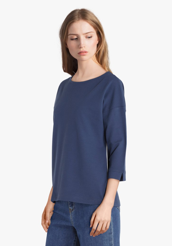 Staalblauw T-shirt in katoentricot met reliëf