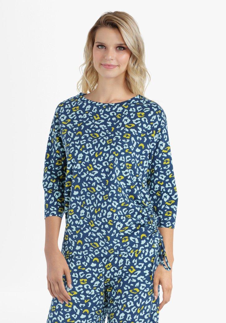 Staalblauw T-shirt met panterprint