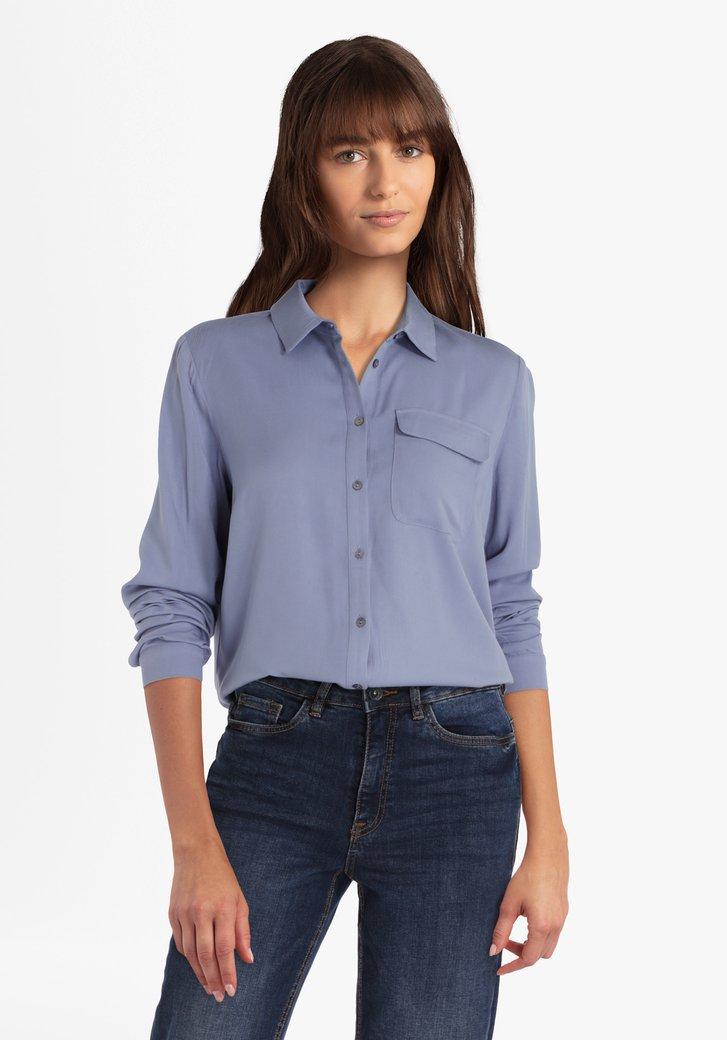 Staalblauwe blouse in viscose