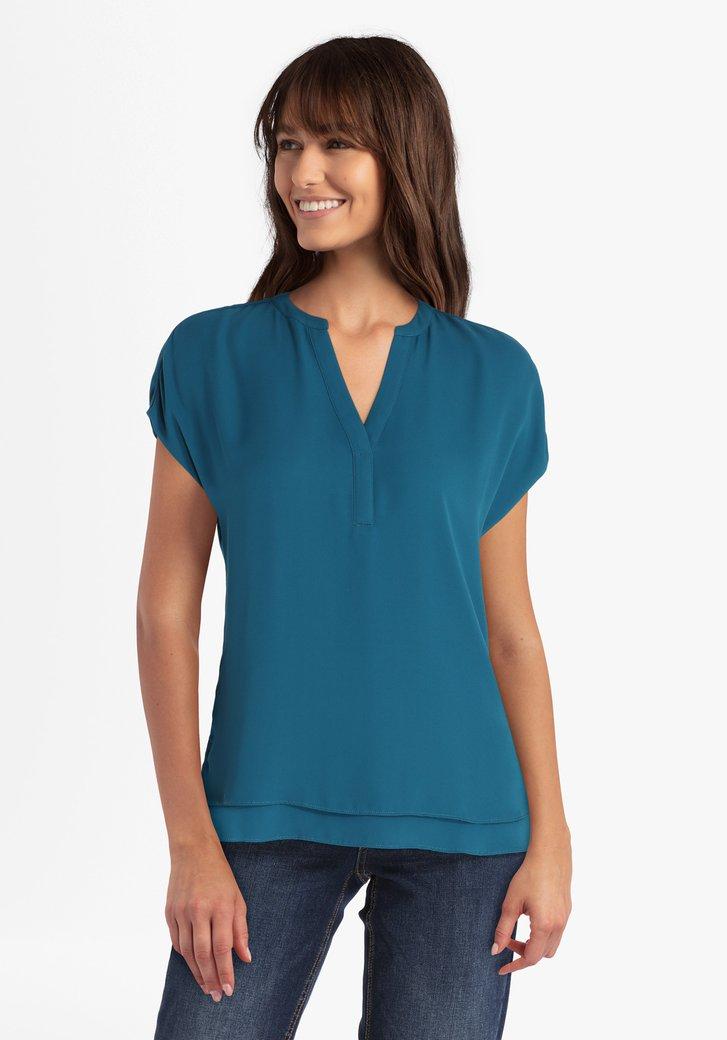 Staalblauwe blouse met V-hals