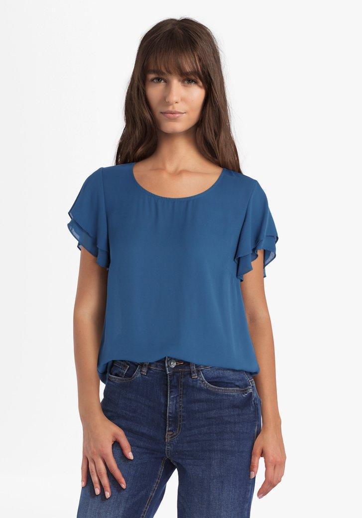 Staalblauwe blouse met vlindermouwen