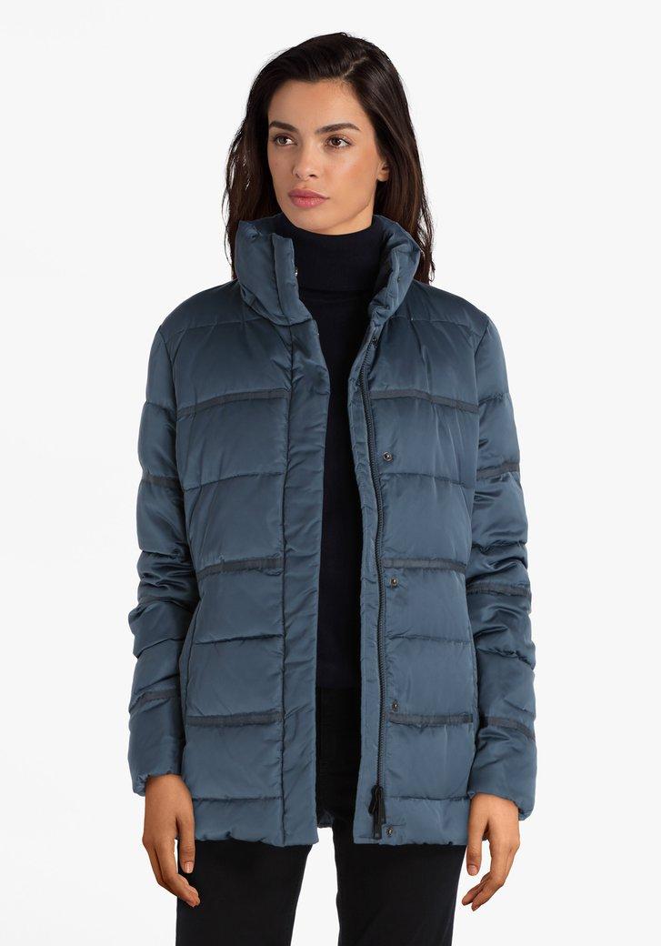 Staalblauwe gewatteerde jas met afritsbare kap