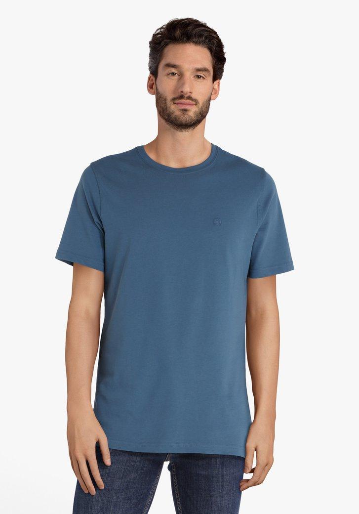 Staalblauwe katoenen T-shirt