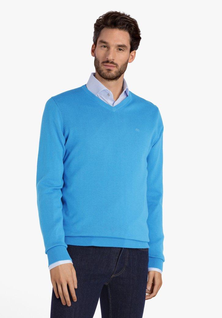 Staalblauwe katoenen trui met V-hals