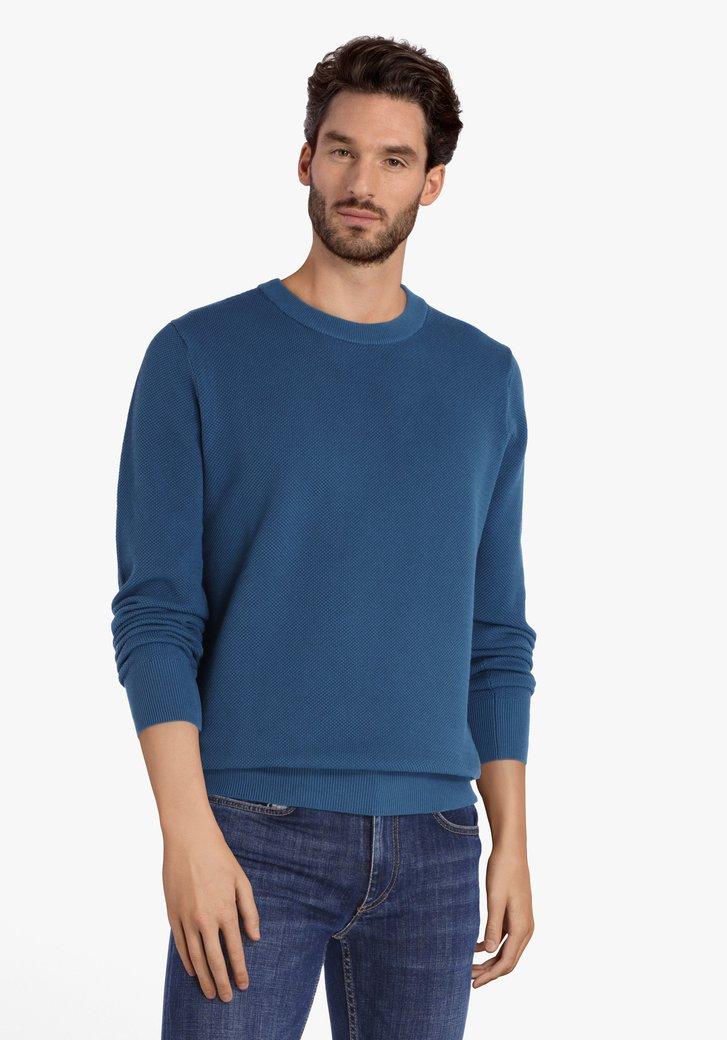 Staalblauwe katoenen trui