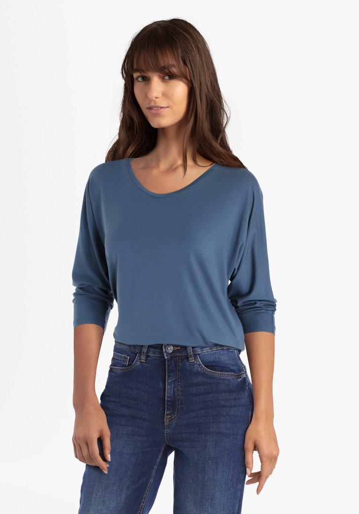 Staalblauwe T-shirt met 3/4 mouwen