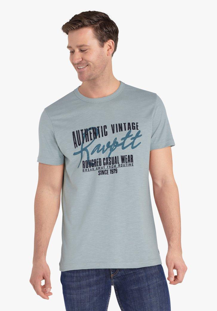 Staalblauwe T-shirt met print