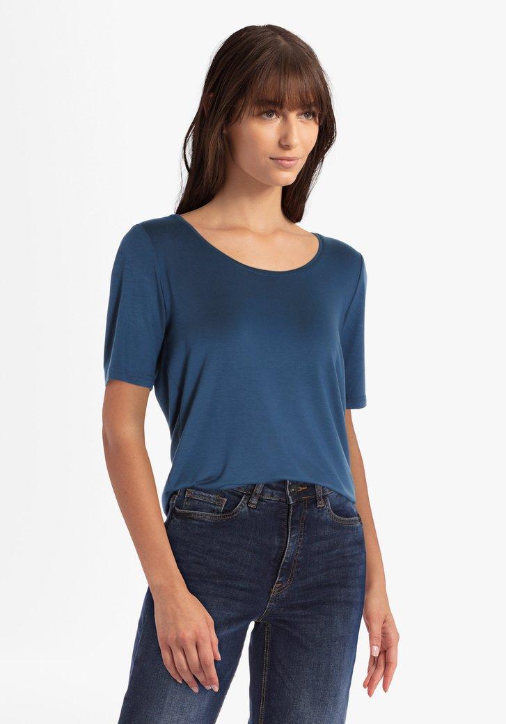 Staalblauwe T-shirt met ronde hals