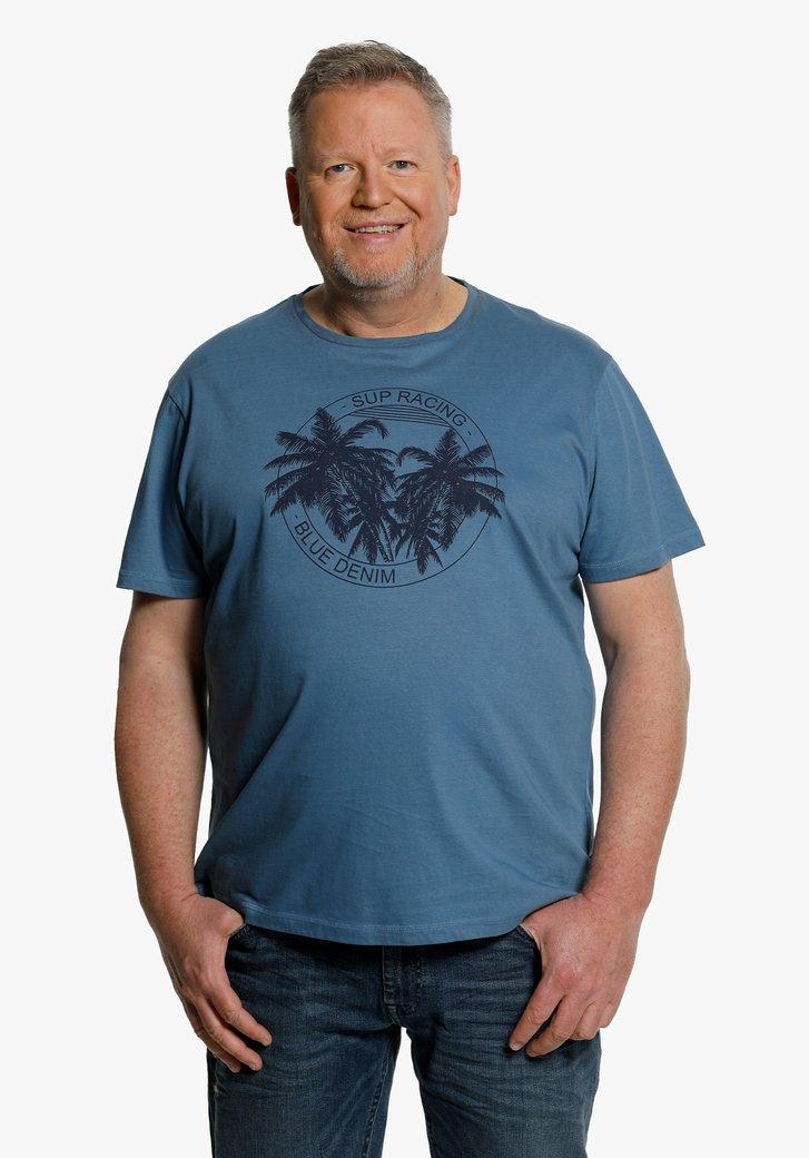 Staalblauwe T-shirt met tropische print
