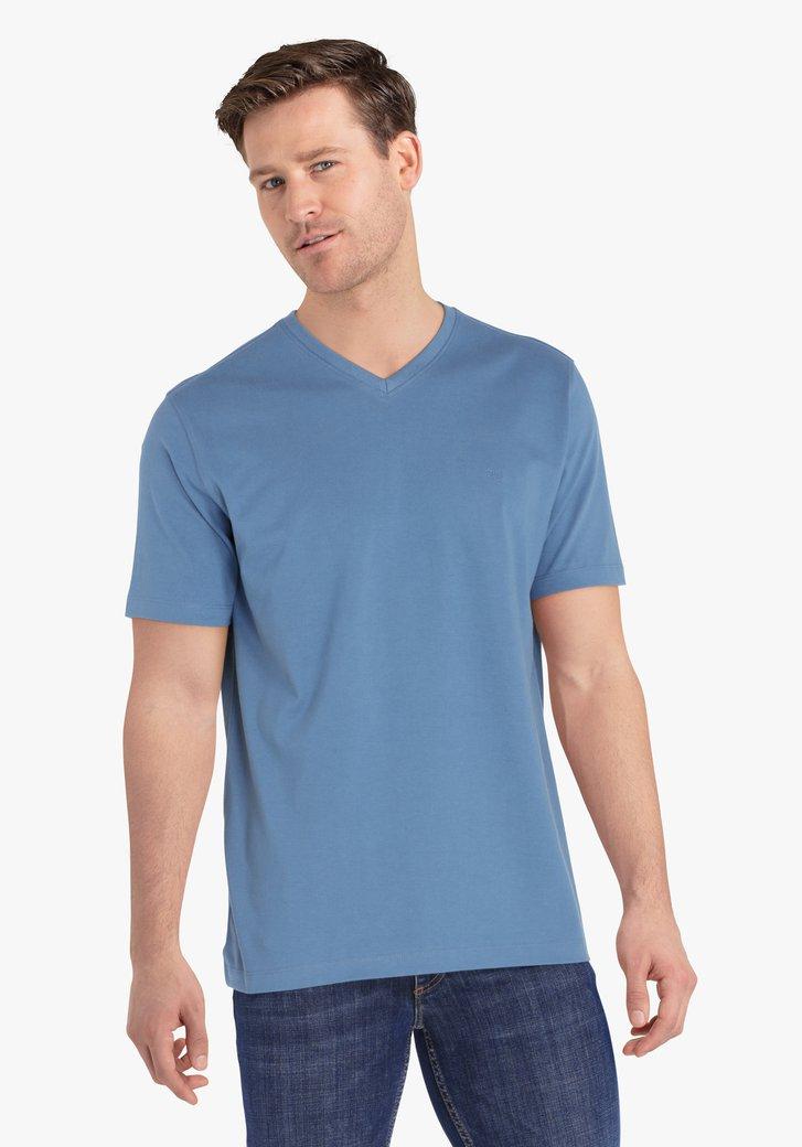 Staalblauwe T-shirt met V-hals