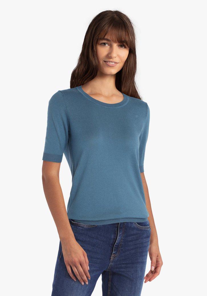 Staalblauwe trui met korte mouwen