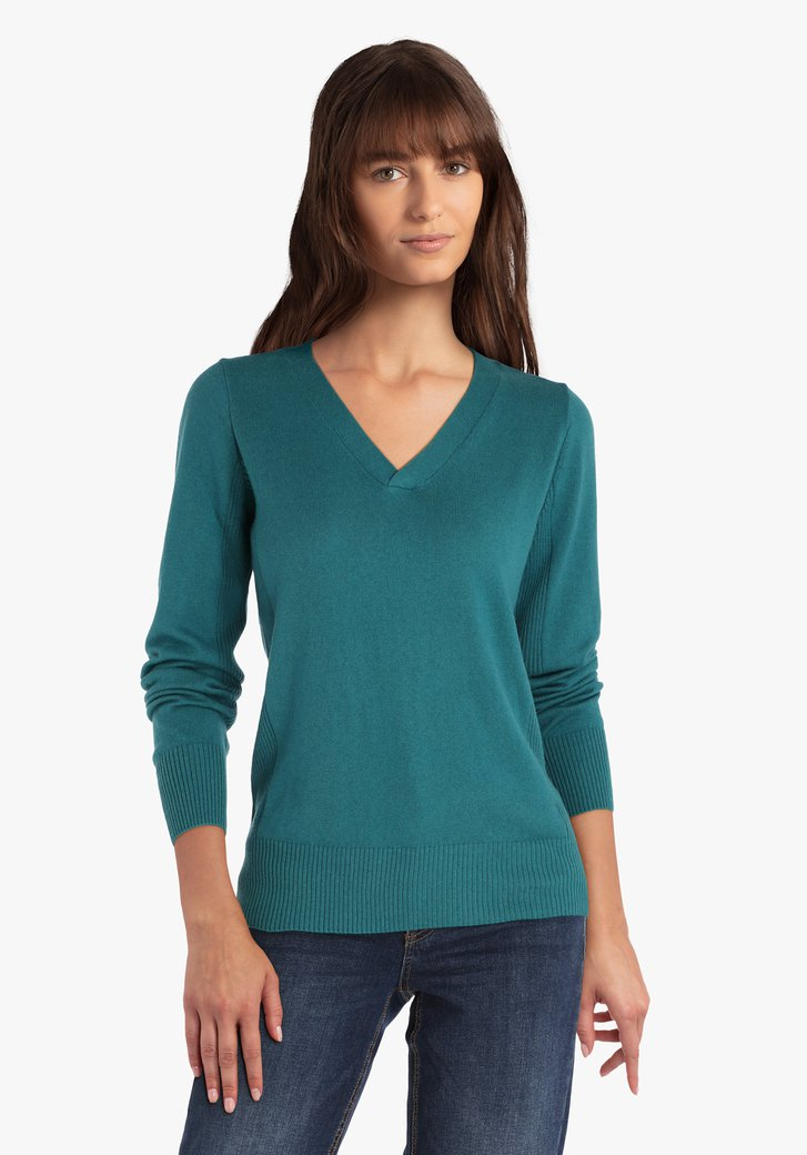 Staalblauwe trui met V-hals