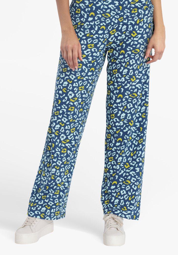 Staalblauwe wijde broek met panterprint