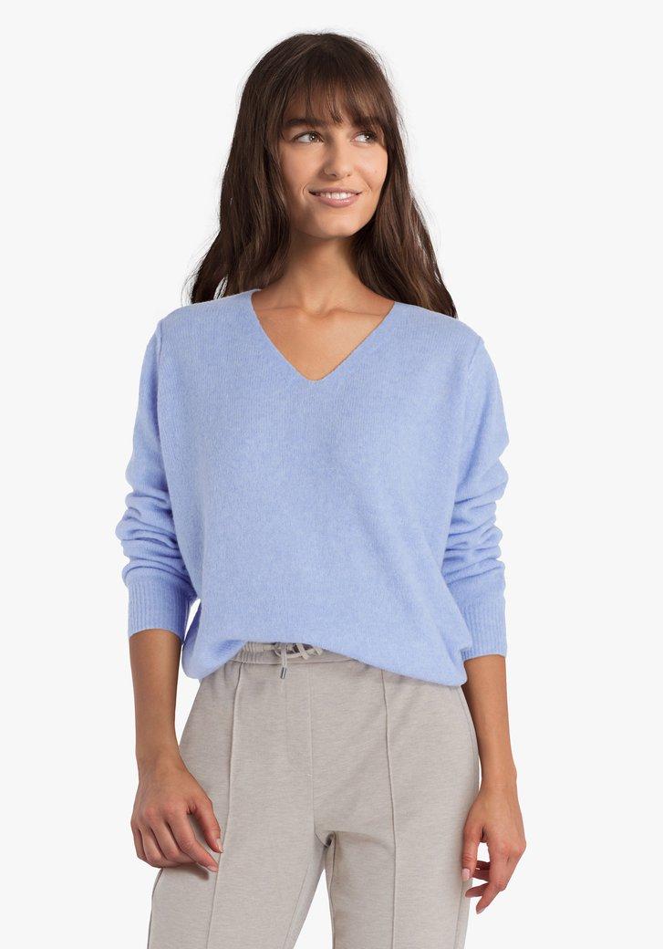 Staalblauwe wollen trui met V-hals