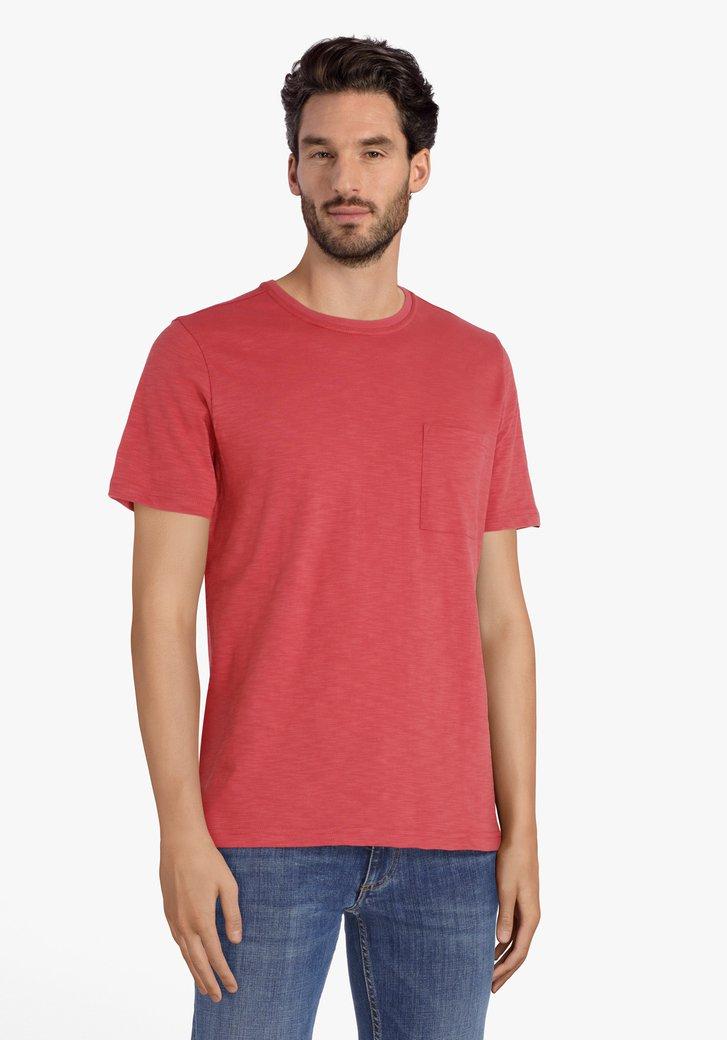 Steenrood katoenen T-shirt met ronde hals