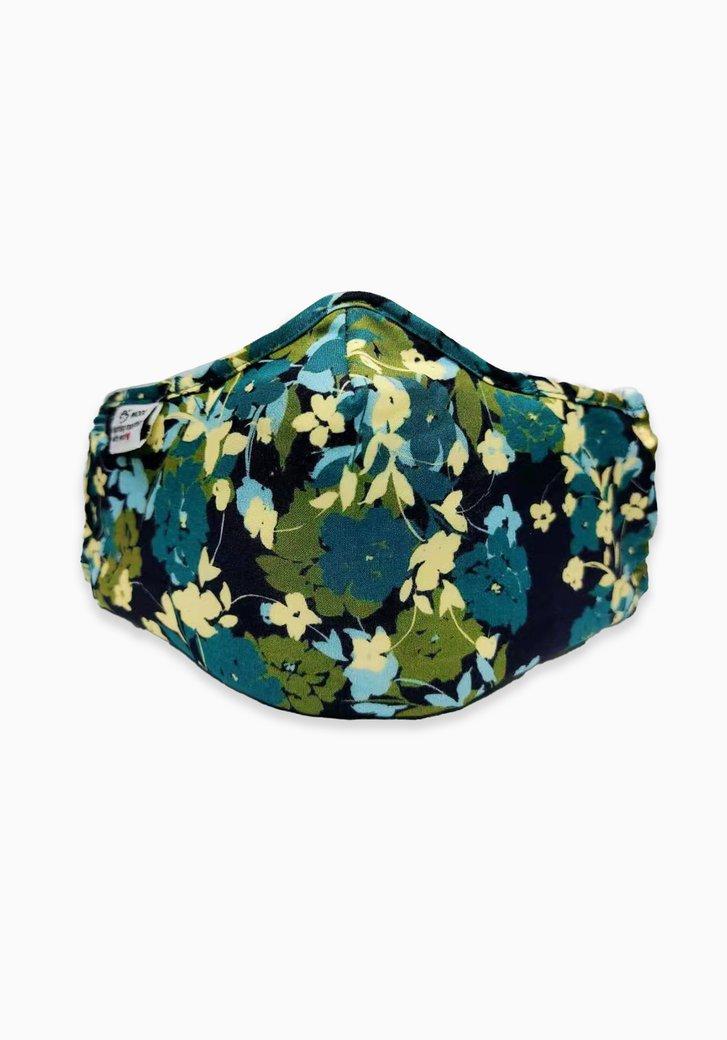 Stoffen mondmasker - blauw en groene bloemen