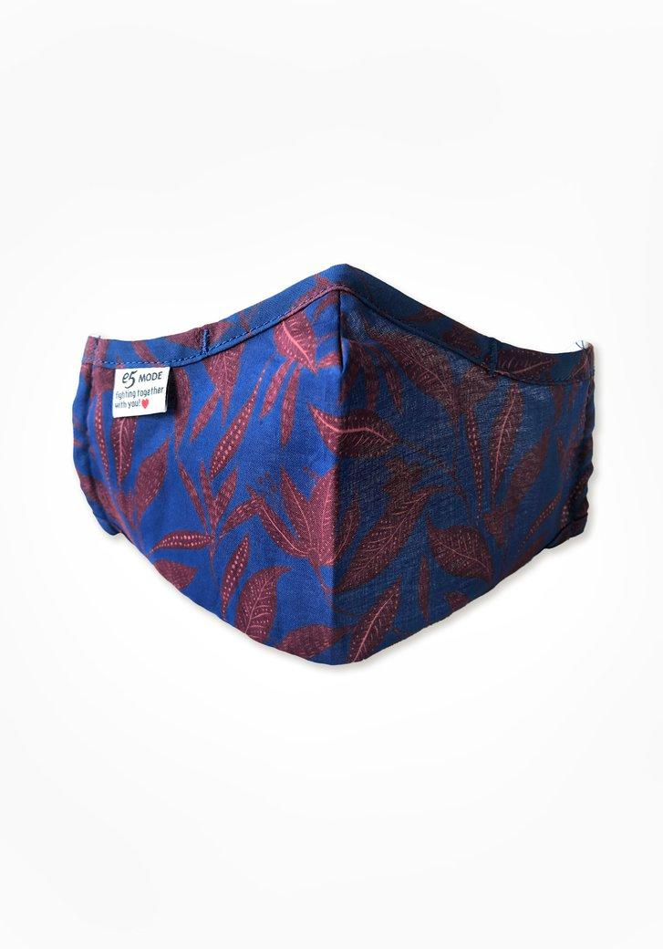 Stoffen mondmasker - blauw met bladeren