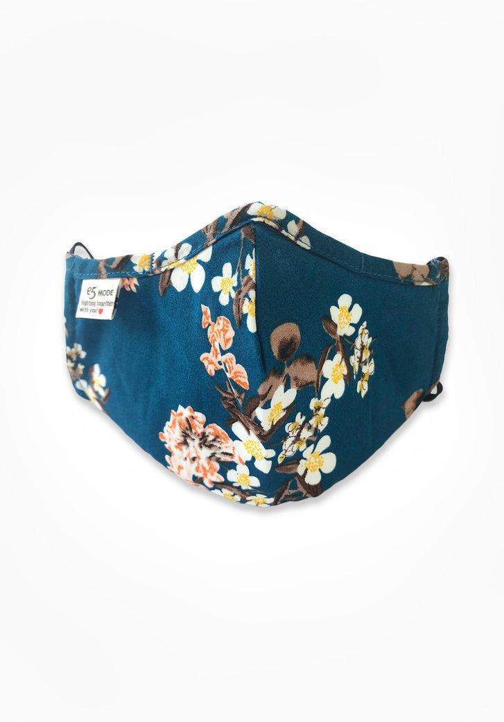 Stoffen mondmasker - blauw met bloemetjes