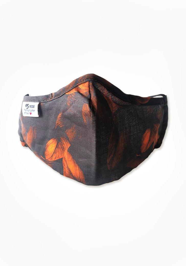 Stoffen mondmasker - bruin met bladeren
