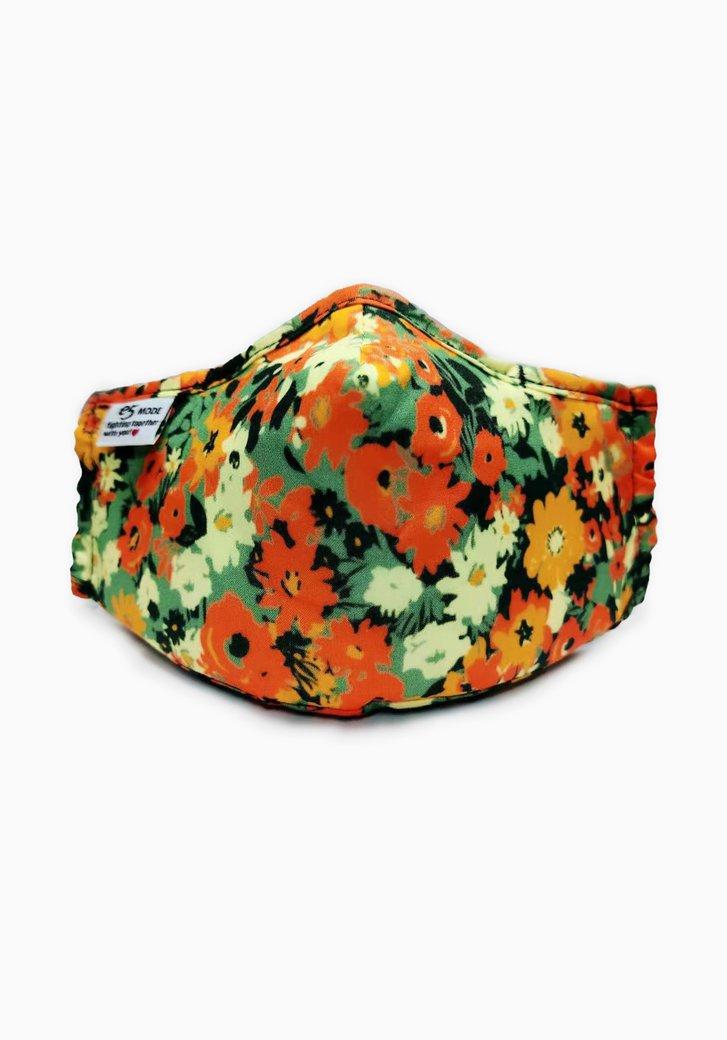 Stoffen mondmasker - groen en oranje bloemen