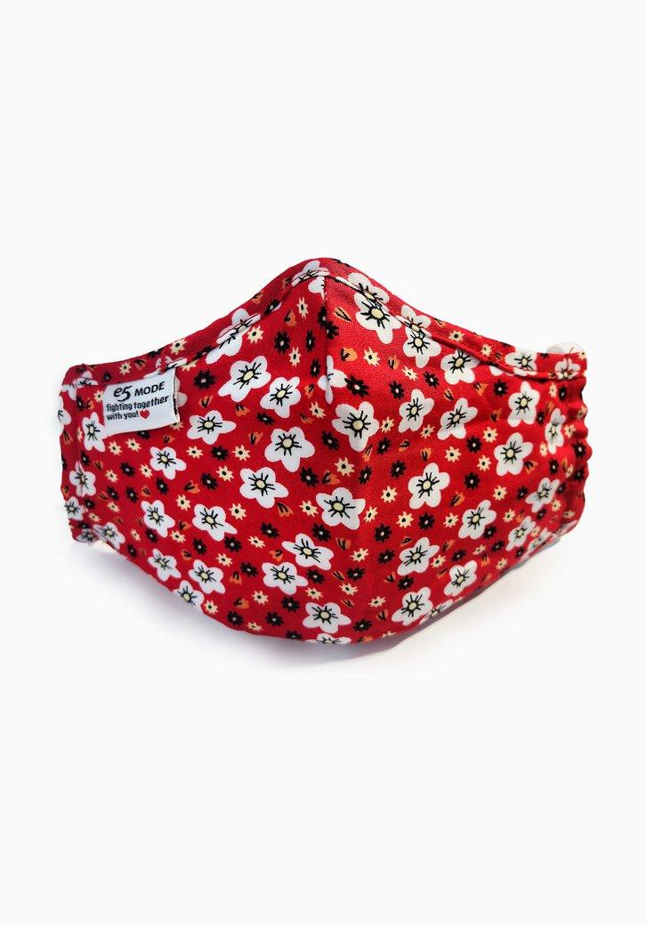 Stoffen mondmasker - Kinderen - rood met bloemen