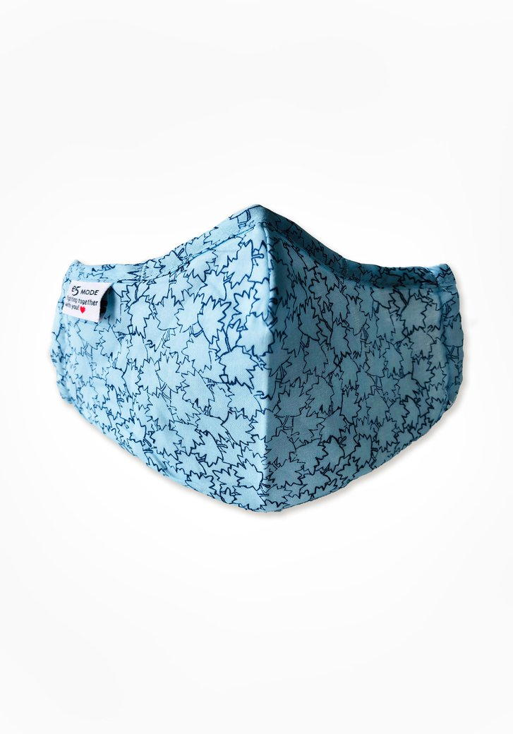 Stoffen mondmasker - lichtblauw met blaadjes
