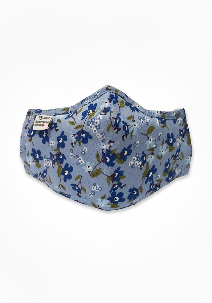 Stoffen mondmasker - lichtblauw met blauwe bloemen