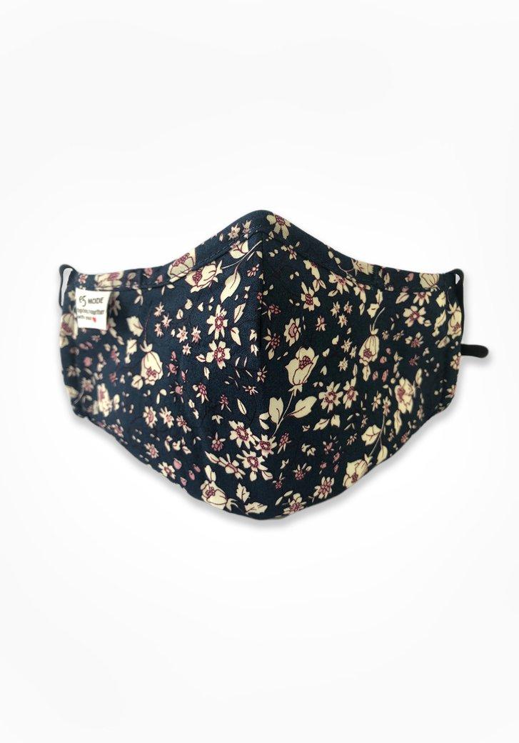 Stoffen mondmasker - navy met beige bloemen