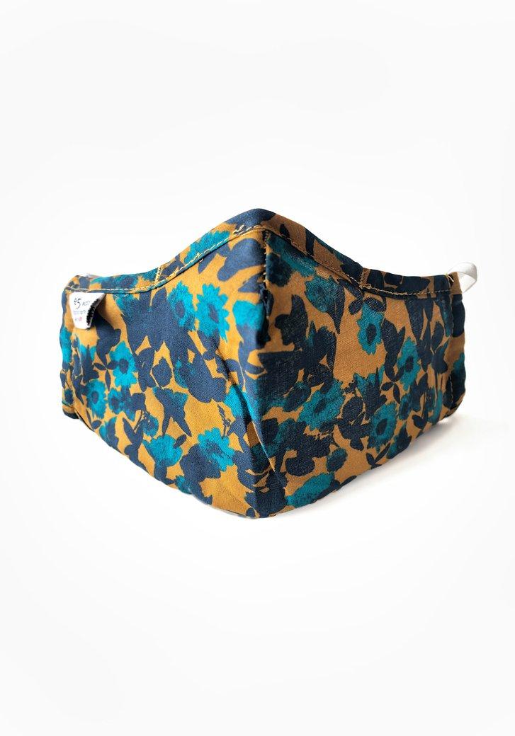 Stoffen mondmasker- okerkleurig met blauwe bloemen