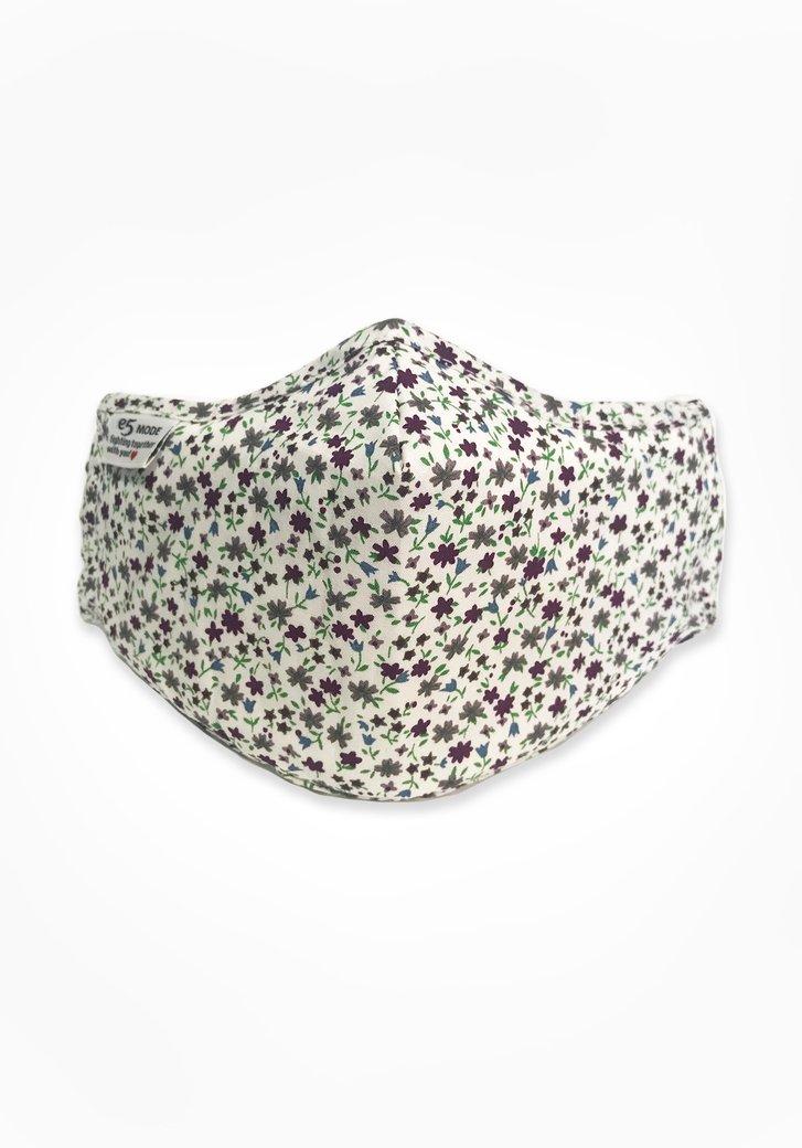 Stoffen mondmasker - wit met paarse bloemetjes