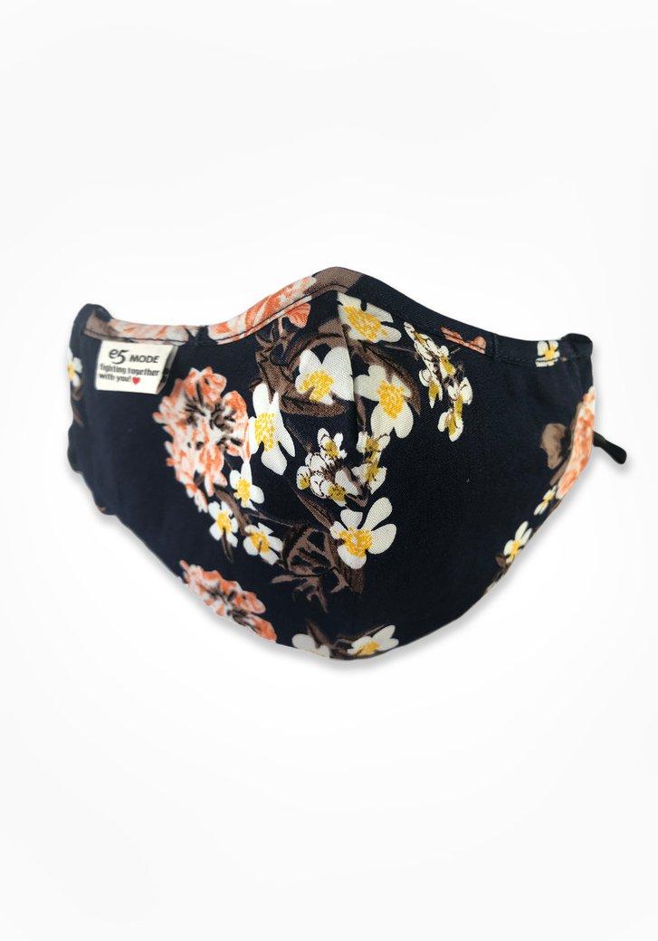Stoffen mondmasker - zwart met bloemen